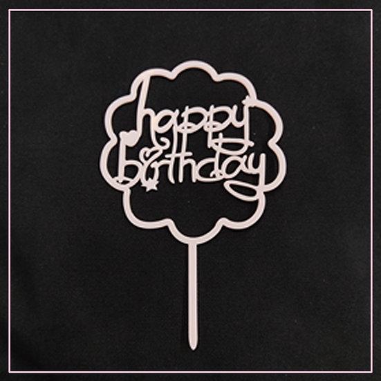 Cake tag - metallic - pink - flower - happy birthday