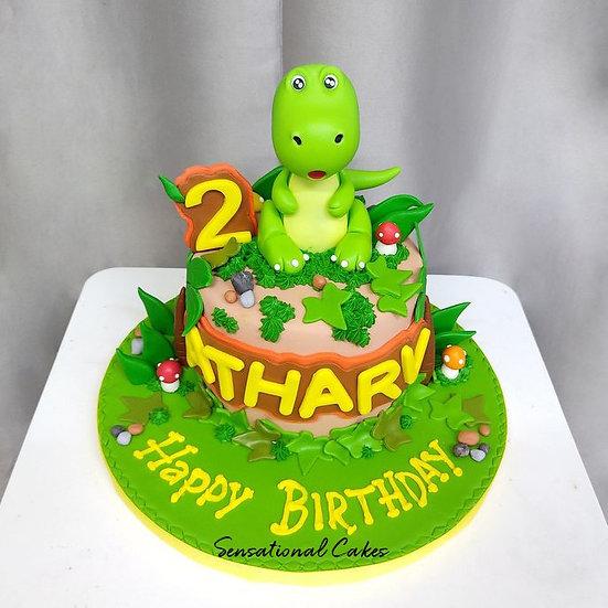 Green Dinosaur Design Children 3D Figurine Customized Cake