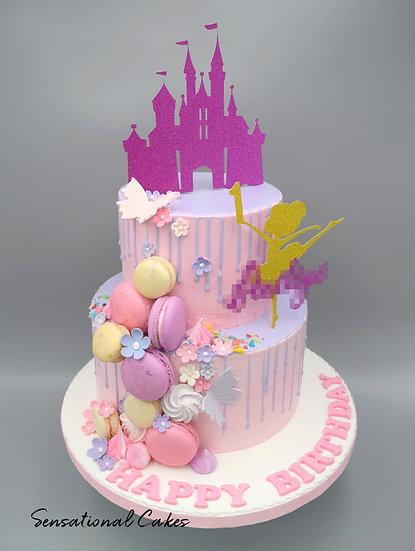 2 Tier Pastel Pink Princess Children 3D Figurine Customized Cake
