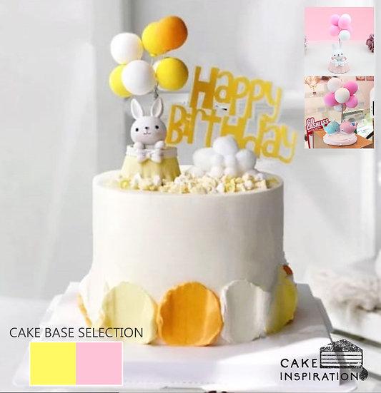 Happy Rabbit in Balloon Topper Cake ( no.77 ) - 6inch