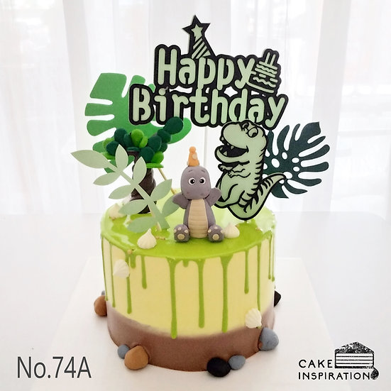 Happy Dinosaur Forest Topper Cake ( no.74 ) - 6inch