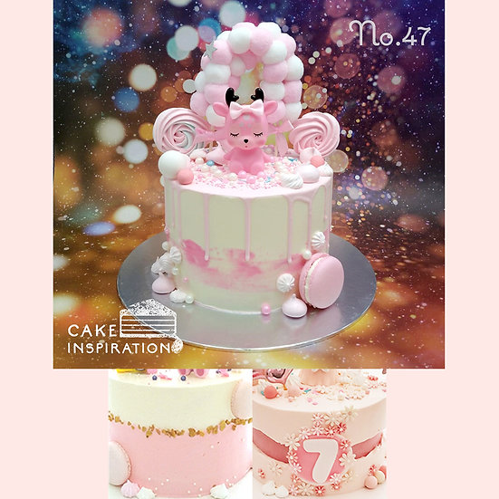 Sweet Deer Pink Balloon Topper Cake ( no.47 ) - 6inch