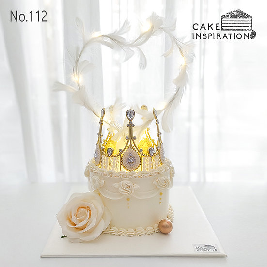 Princess Crown with Heart Feather Topper Cake ( no.112) - 6inch