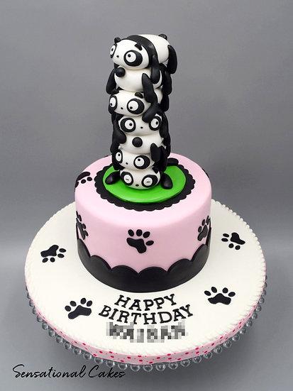 Panda Friends Children Theme 3D Figurine Customized Cake