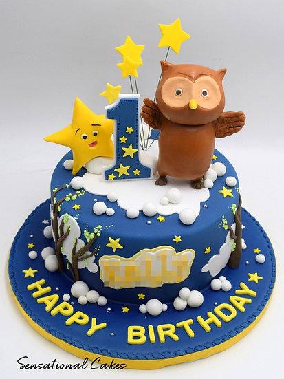 Twinkle Little Star & Owl Children Theme 3D Figurine Customized Cake
