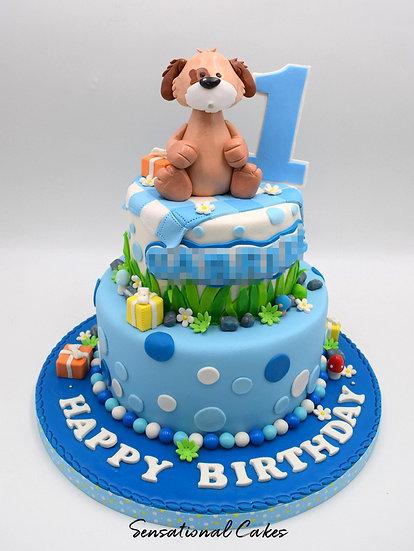 Dog Picnic Party Children Theme 3D Figurine Customized Cake
