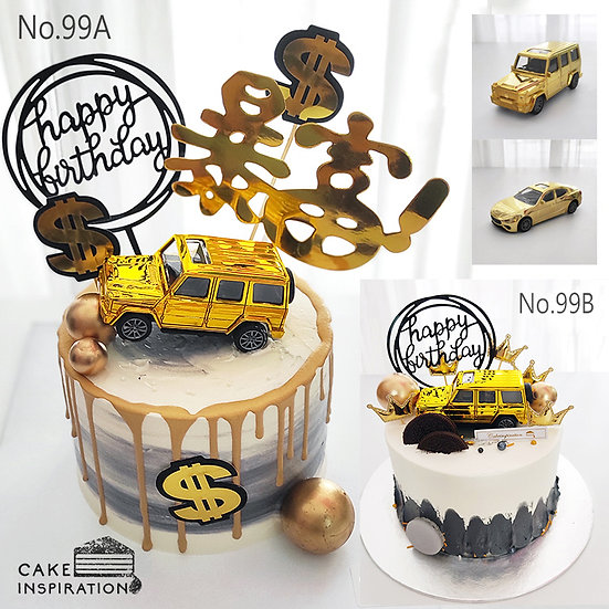 Gold Money Car Drip Topper Cake ( no.99 ) - 6inch