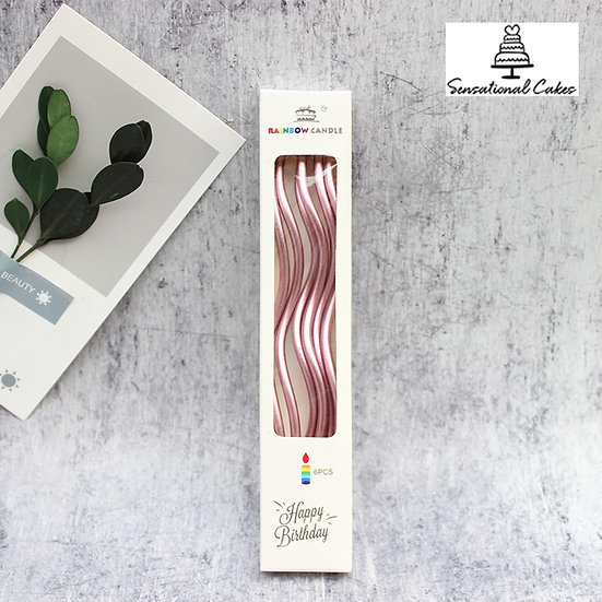 Metallic twist candle / Pink ( 6 pieces per pack )