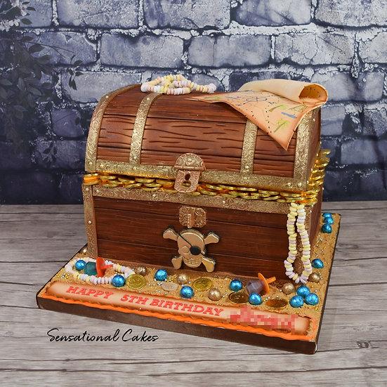 Pirate Treasure Box Children Theme 3D Figurine Customized Cake