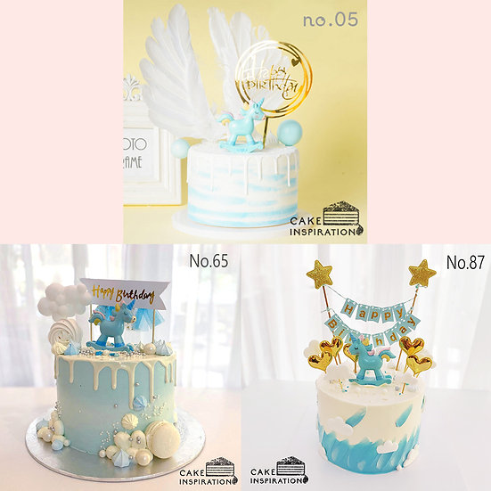 Single Unicorn Topper Cake ( no.05, 65 & 87 ) - 6inch