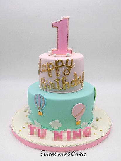 2 Tier Pastel Hot Air Balloon Children 3D Figurine Customized Cake
