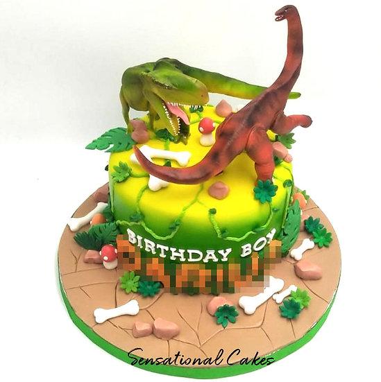 Forest Dinosaurs Children Theme 3D Figurine Customized Cake