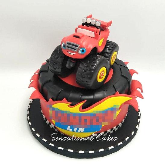 Blaze Truck Monster Children Theme 3D Figurine Customized Cake