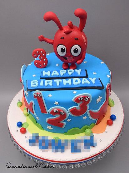 Alien & Numbers Children Theme 3D Figurine Customized Cake
