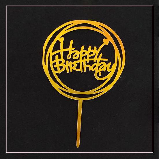 Happy Birthday - Acrylic Tag - Gold Circle