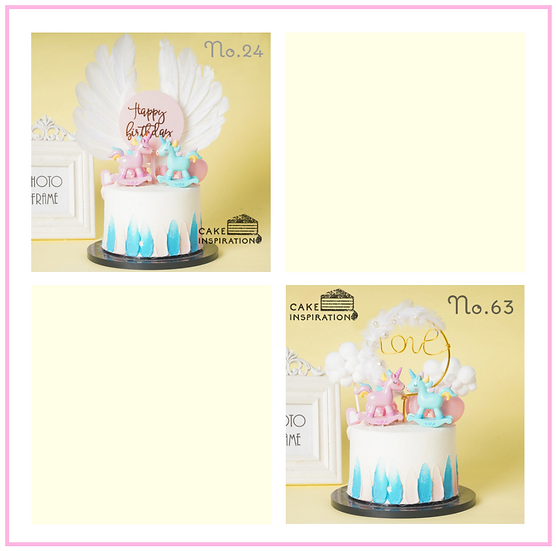 Twin Unicorn Topper Cake ( no.24 & 63 ) - 6inch