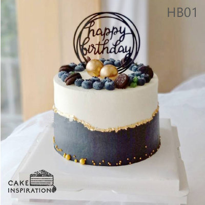 (HB01) Two Tone Black and White Cake - 6inch Buttercream