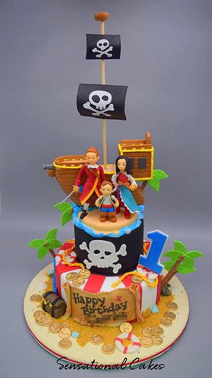 Pirate Family Ship Children Theme 3D Figurine Customized Cake