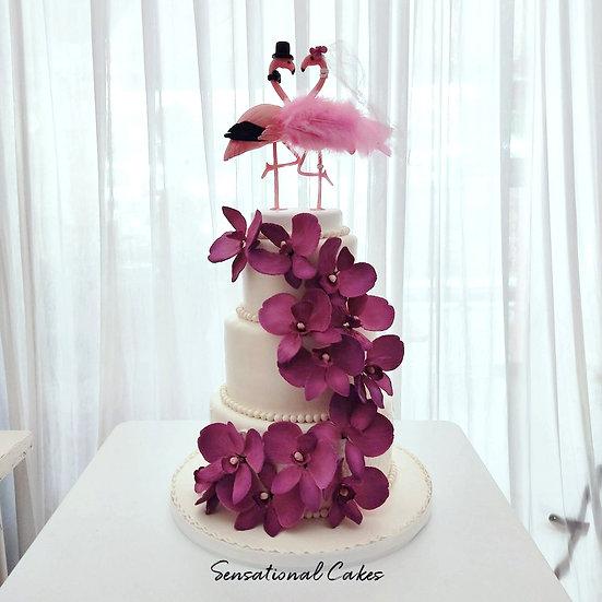 Flamingo Floral Wedding Theme 3D Customized Cake