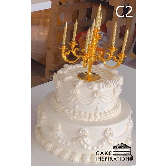 (C2) Classic White Ruffles Victorian Style Cake - 8inch +5inch