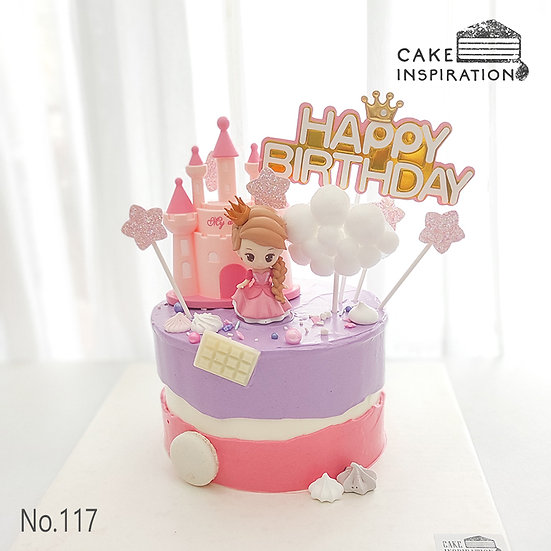 Lovely Princess With Castle Topper Cake ( no.117) - 6inch