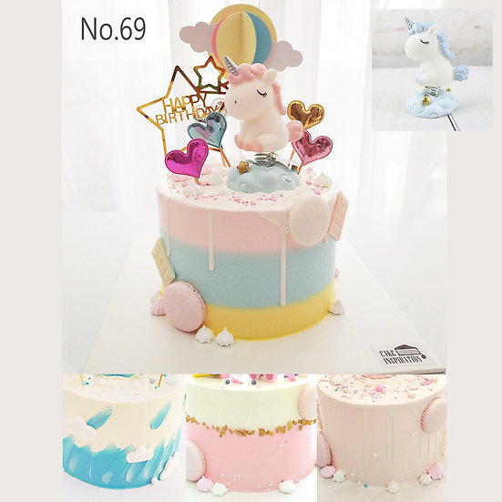 Unicorn Hot Air Balloon Hearts Topper Cake ( no.69 ) - 6inch