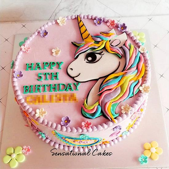 Rainbow Unicorn Children Theme 2D Design Customized Cake