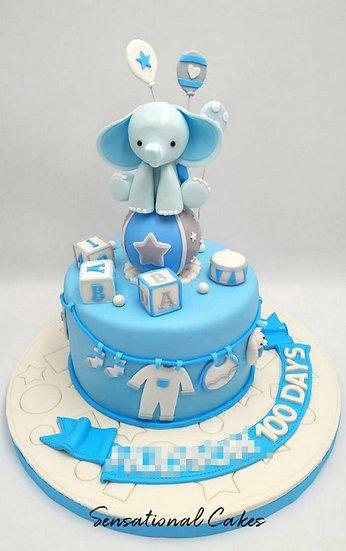 Blue Elephant Circus Children Theme 3D Figurine Customized Cake