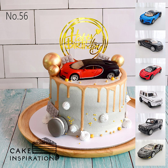 Luxury Car Red Black Gold Drip Topper Cake ( no.56 ) - 6inch (Choose Car Topper)