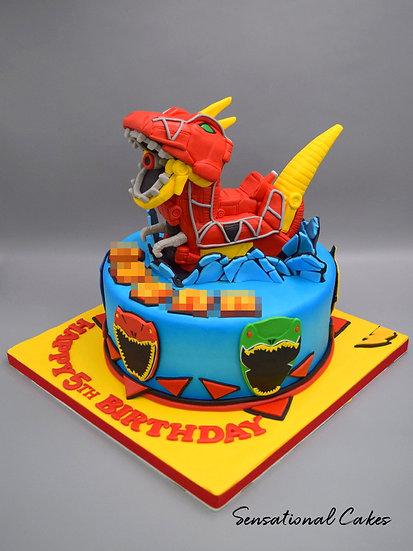 Dino Ranger Power Children Theme 3D Figurine Customized Cake