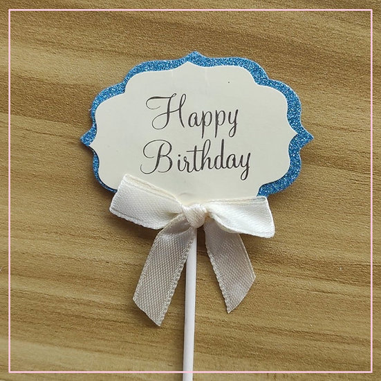 Cake tag - Paper Tag Blue & Yellow Happy Birthday