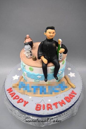 Chef & Drinks Man Theme 3D Figurine Customized Cake