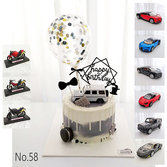 Drip Car White with Balloon Topper Cake ( no.58 ) - 6inch