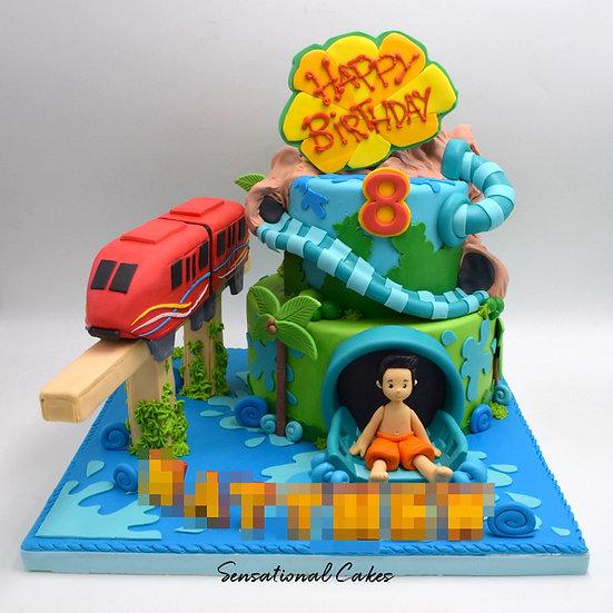 Waterpark Sentosa Children Theme 3D Figurine Customized Cake