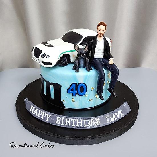 Man Pet Dog Figurine Luxury Car Man Theme 3D Customized Cake