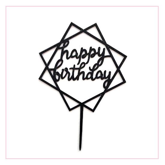 Happy Birthday - Acrylic Tag - Black Hexagon