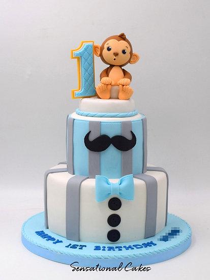 Mister Monkey Children Theme 3D Figurine Customized Cake