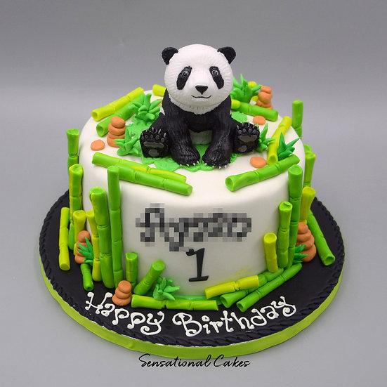 Bamboo Panda Children Theme 3D Figurine Customized Cake