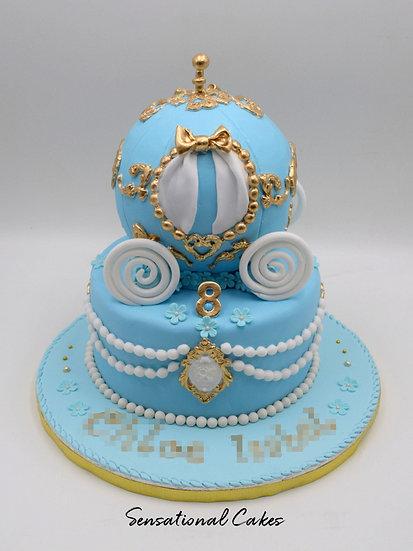 Princess Pearl Carriage Children Theme 3D Figurine Customized Cake