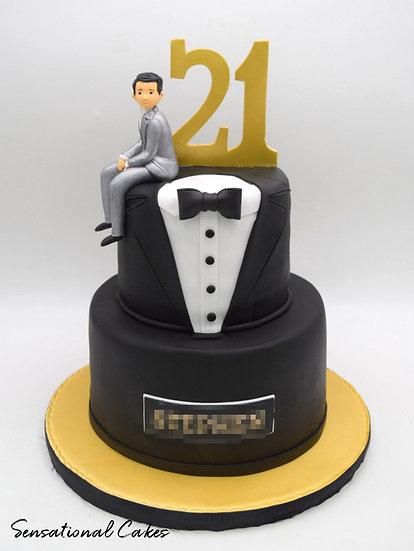 Tuxedo Man Theme 3D Figurine Customized Cake
