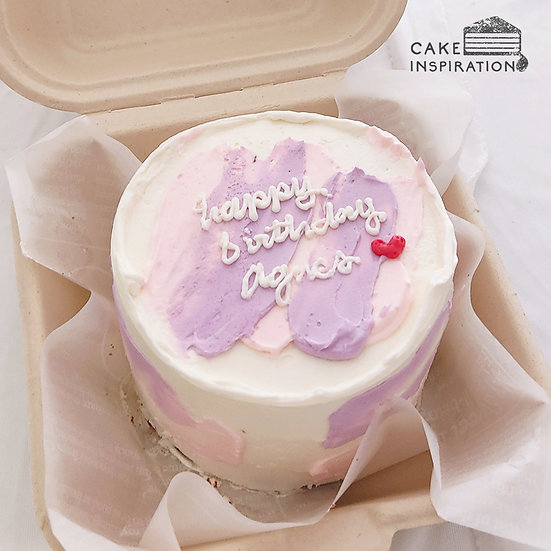 Pastel Pink & Purple Stroke Round Bento Cake (R25)