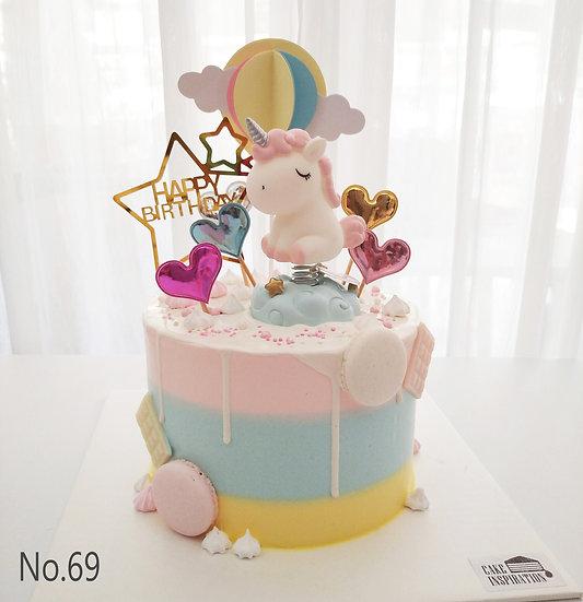 Unicorn Hot Air Balloon Hearts Topper Cake ( no.69 ) - 6inch