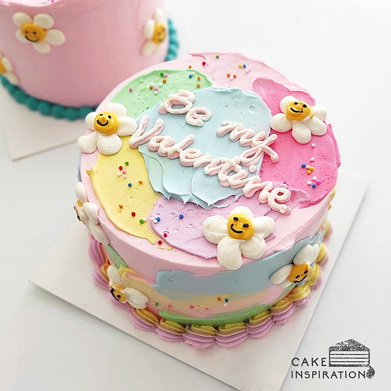 Watercolor Style - Colorful Daisy Pastel  Day Cake (W11) - 5inch