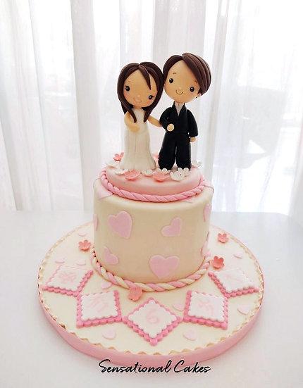 Couple Pastel Pink Wedding Theme 3D Figurine Customized Cake