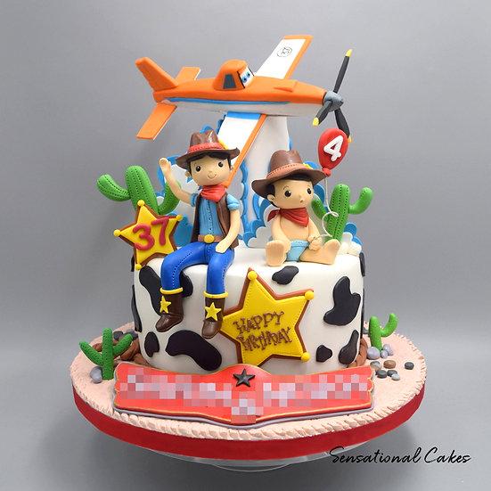 Cowboys Adventure Children Theme 3D Figurine Customized Cake