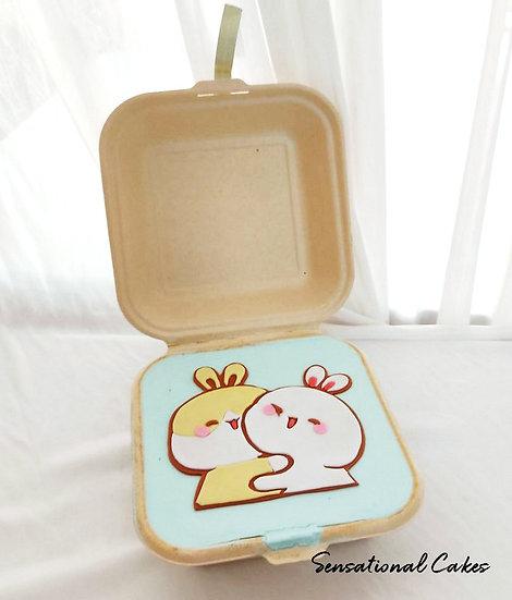 Bunny Pair Bento 2D Customized Mini Cake