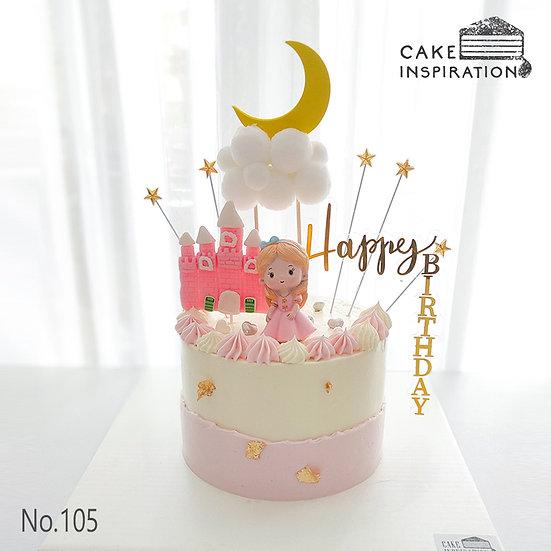 Princess & Castle Topper Cake ( no.105) - 6inch
