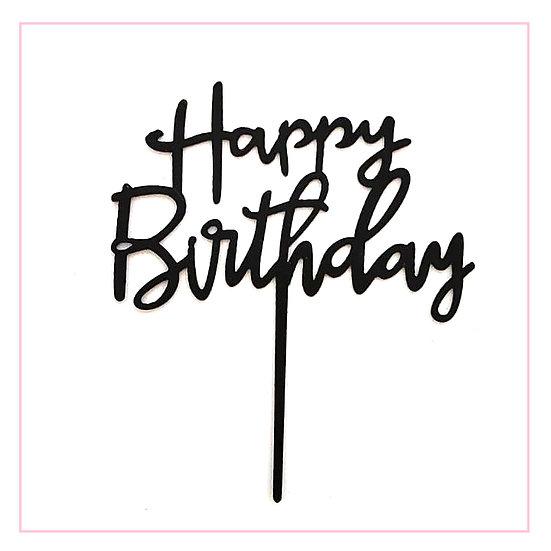 Happy Birthday - Acrylic Tag - Black Writing