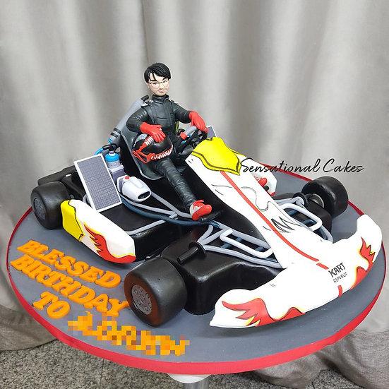 Go Kart Racer Man Theme 3D Customized Cake