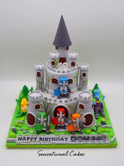 Castle Warriors Children Theme 3D Figurine Customized Cake